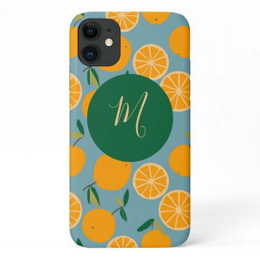 Tropical Orange Citrus Pattern Script Monogram iPhone 11 Case