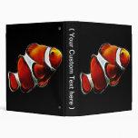 Tropical Orange Clownfish Clown Fish 3 Ring Binders