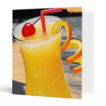 Beach Themed Tropical orange drink 3 ring binder