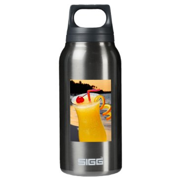 Beach Themed Tropical orange drink insulated water bottle