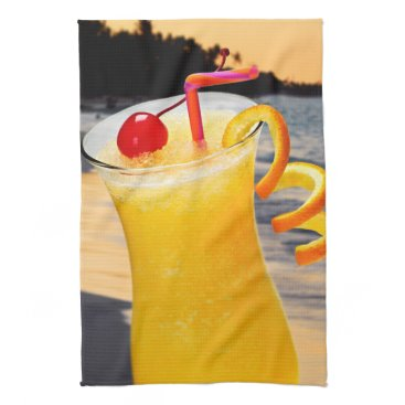 Beach Themed Tropical orange drink kitchen towels
