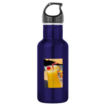Beach Themed Tropical orange drink stainless steel water bottle