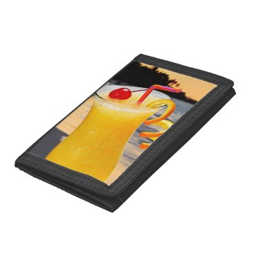 Beach Themed Tropical orange drink trifold wallets