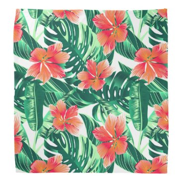 adamfahey Tropical orange hibiscus bandana