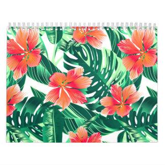 Tropical orange hibiscus calendar