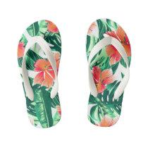 Tropical orange hibiscus kid's flip flops
