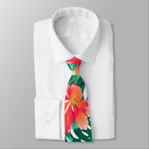 Tropical orange hibiscus neck tie