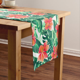 Tropical orange hibiscus short table runner