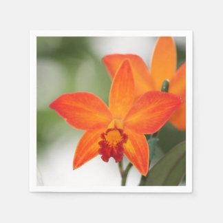 Tropical Orange Orchid Paper Napkin