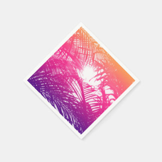 Tropical Orange, Pink, & Purple Palm Fronds Paper Napkin