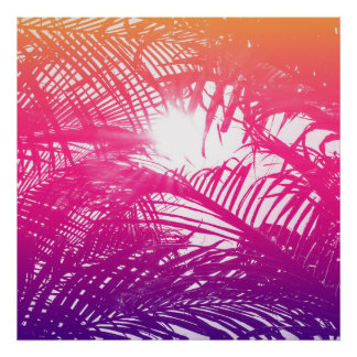 Tropical Orange, Pink, & Purple Palm Fronds Poster