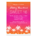 Tropical Orange Pink Sweet 16 Birthday 5x7 Paper Invitation Card