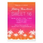 Tropical Orange Pink Sweet 16 Birthday 5x7 Paper Invitation Card