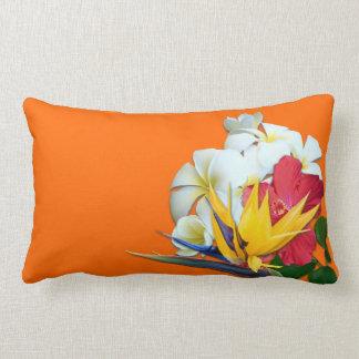 Tropical Orange Plumeria Flowers Throw Pillow