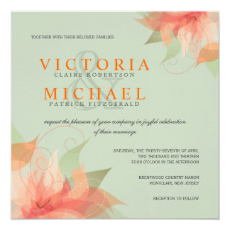 Tropical Orange & Sage Linen Wedding Invitations