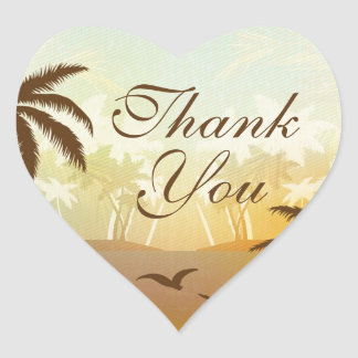 Tropical Orange Scenic Beach Thank You Sticker