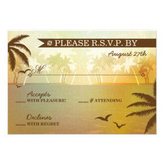 Tropical Orange Scenic Beach Wedding RSVP Invitations