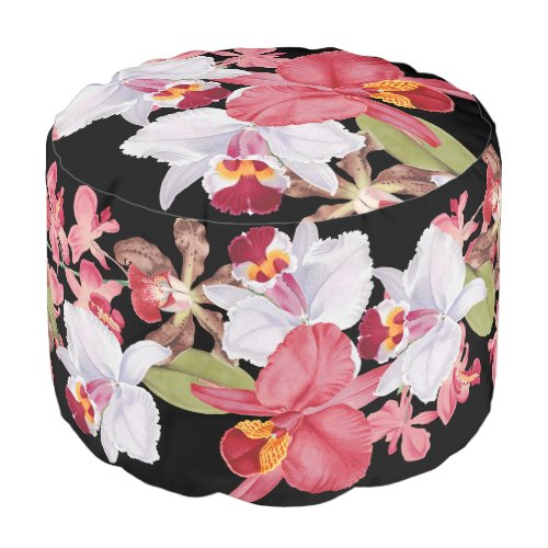 Tropical Orchid Flower Floral Islands Pouf Pillow Round Pouf