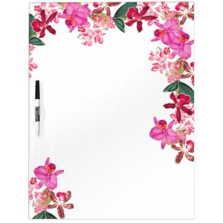 Tropical Orchid Flowers Floral Dry Erase Board
