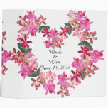 Tropical Orchid Flowers Floral Hearts Wedding 3 Ring Binder