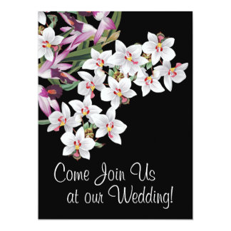 Tropical Orchid Flowers Floral Island Wedding Card