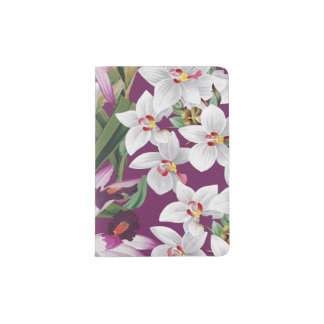 Tropical Orchid Flowers Floral Passport Holder
