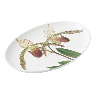 Tropical Orchid Flowers Floral Serving Platter