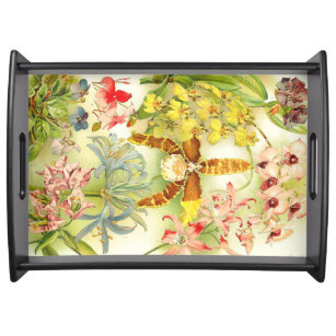 51496736c Tropical Orchid Flowers Floral Serving Tray