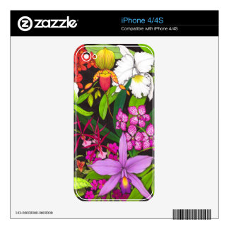 Tropical Orchid Garden Flowers Zazzle Skin Decals For iPhone 4