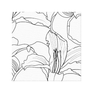 Tropical Outlines Floral Canvas