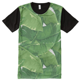 Tropical overlapping banana leaves All-Over-Print T-Shirt