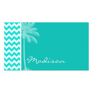 Tropical Palm; Aqua Color Chevron Business Card