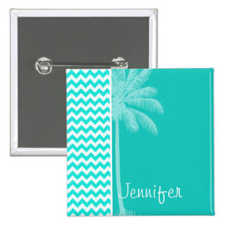 Tropical Palm; Aqua Color Chevron Button