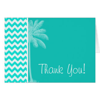 Tropical Palm; Aqua Color Chevron Card