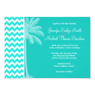 Tropical Palm; Aqua Color Chevron Cards