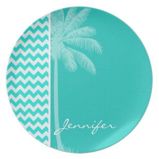 Tropical Palm; Aqua Color Chevron Party Plate