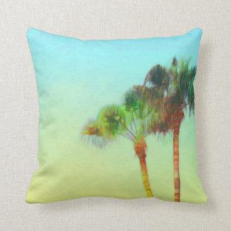 tropical palm beach art on throw pillow