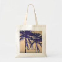 Tropical palm beach destination wedding tote bags