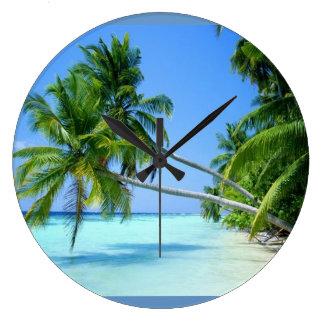 Tropical Palm Beach! Large Clock