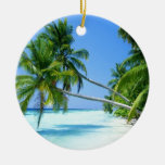 Tropical Palm Beach! Double-Sided Ceramic Round Christmas Ornament
