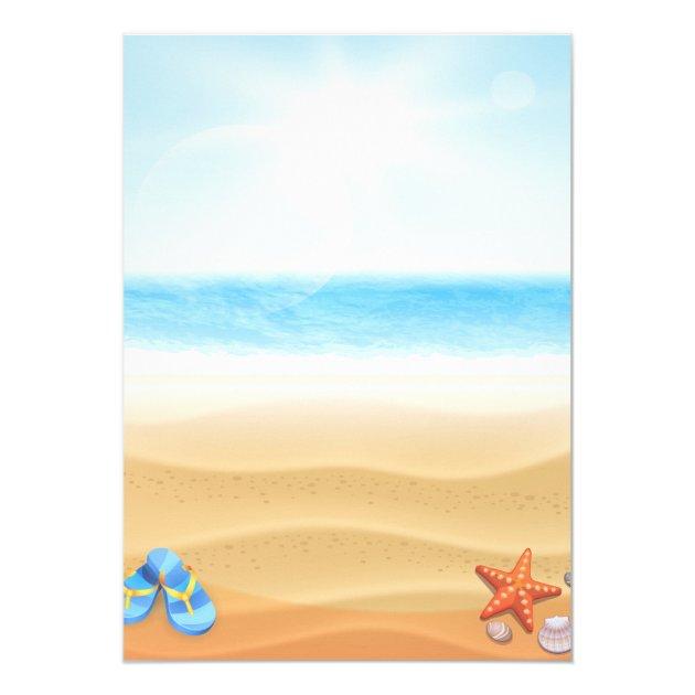 Tropical Palm Beach Summer Wedding Celebration Card (back side)