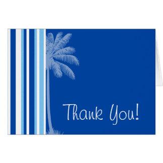 Tropical Palm; Blue & White Stripes Card