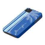 Tropical Palm; Blue & White Stripes iPhone 4 Cover