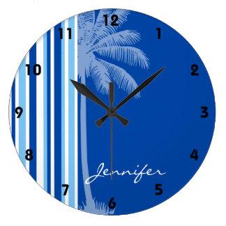 Tropical Palm; Blue & White Stripes Large Clock