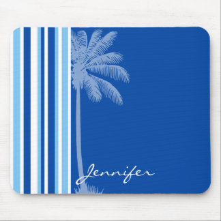 Tropical Palm; Blue & White Stripes Mouse Pad