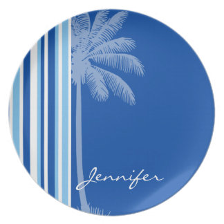 Tropical Palm; Blue & White Stripes Party Plate