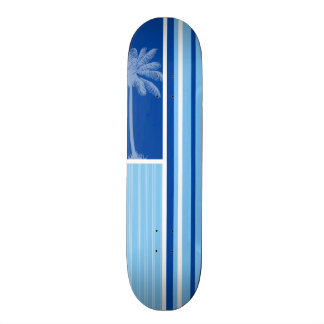 Tropical Palm; Blue & White Stripes Skateboard