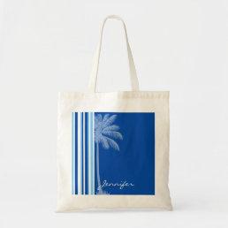 Tropical Palm; Blue & White Stripes Tote Bag