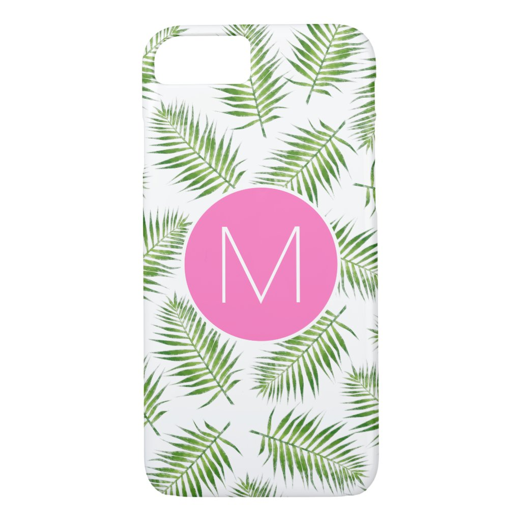 Tropical Palm Branches with Monogram iPhone 8/7 Case