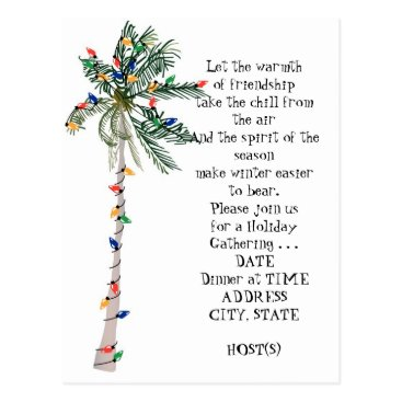 Christmas Themed Tropical Palm Christmas Tree Holiday Party Invite Postcard